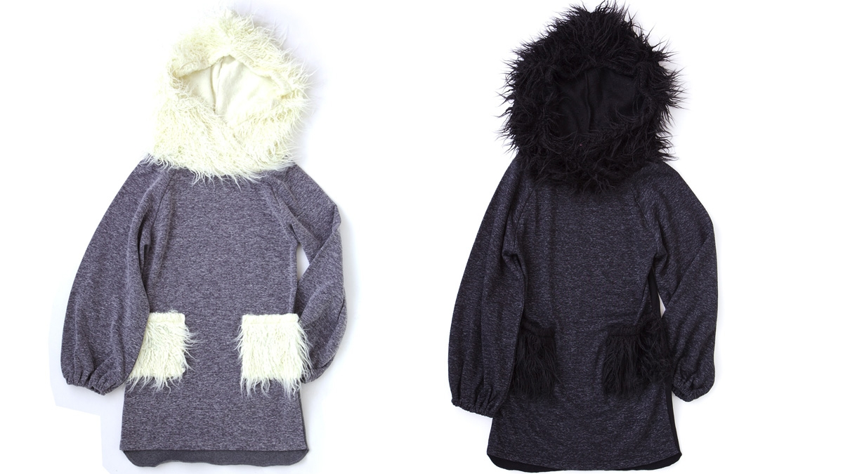 FUR HOODED SWEAT OP(GRAY   BLACK) ¥12,800