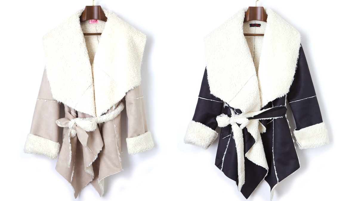 LADY MOUTON COAT(BEIGE  BLACK)¥17,800