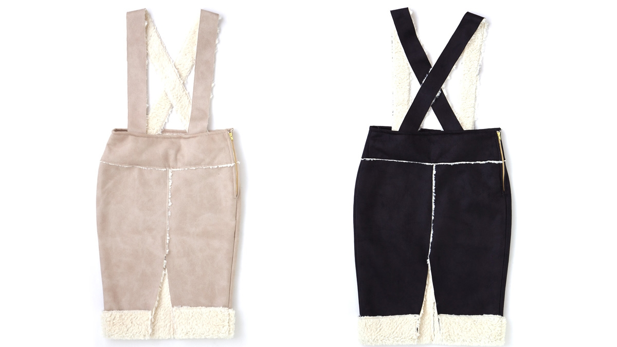 LADY MOUTON SKIRT(BEIGE  BLACK)¥9,500