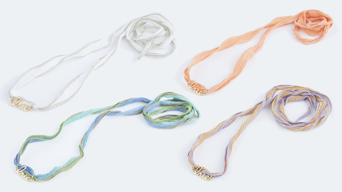IRIE SILK NECKLACE& BRACELET(WHT PURPLE ORANGE BLUE)5500yen