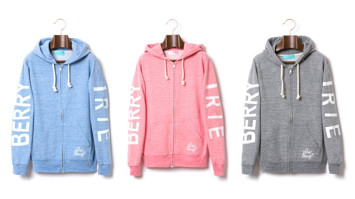 IRIE BERRY MARBLE ZIP UP HOODIE (BLUE PINK GRAY) ¥9.800