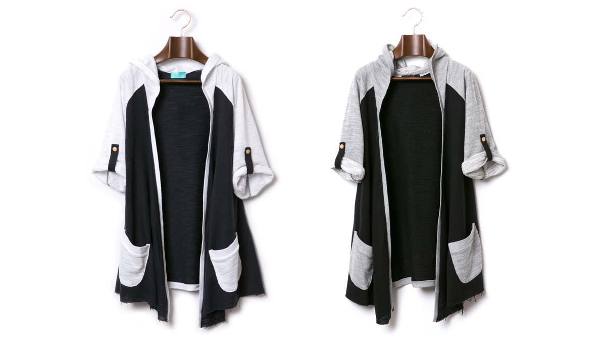 SPRING KNIT HOODED CARDIGAN (WHITE×NAVY GRAY×BLACK) ¥13,800