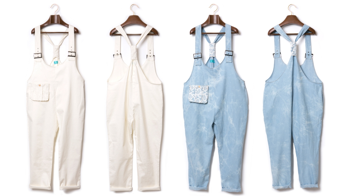 SPRING DENIM SALOPETTE (WHITE WASH) ¥14,800