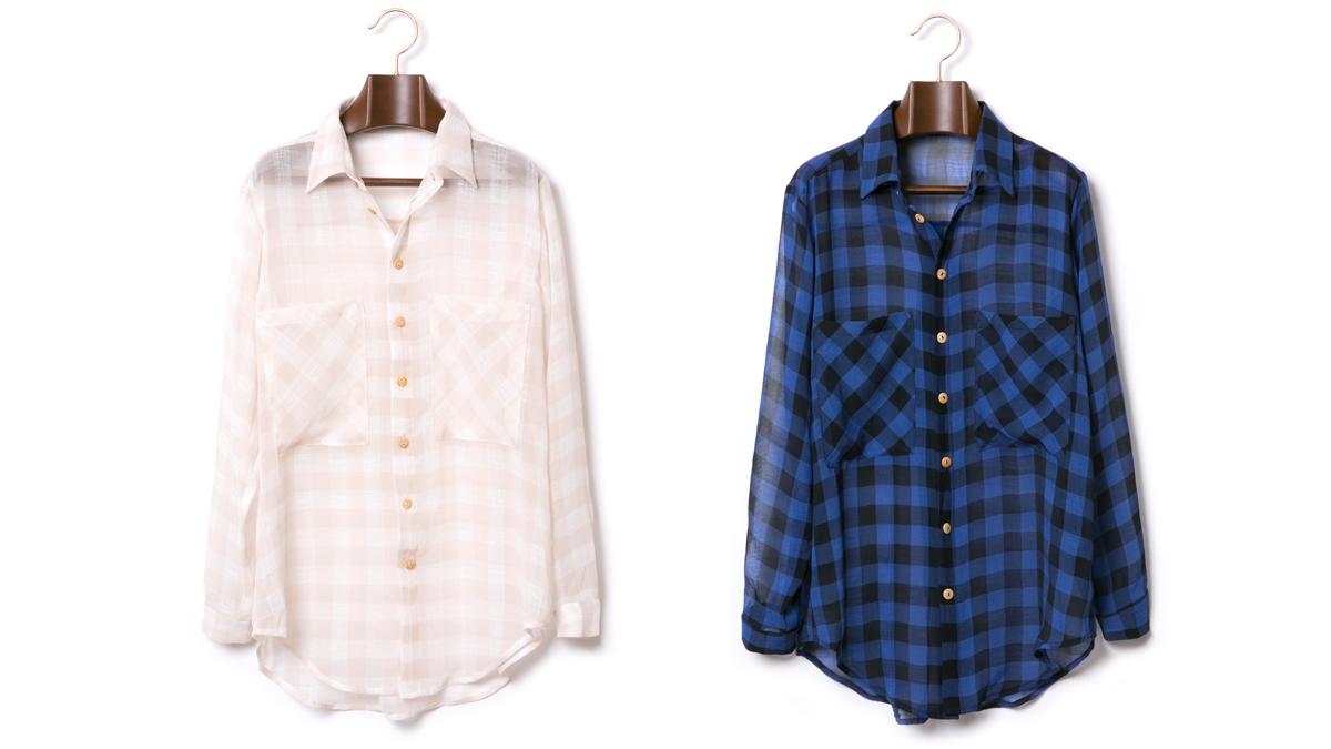 GINGHAM CHECK CHIFFON SHIRT (NATURAL BLUE×BLACK) ¥13,800